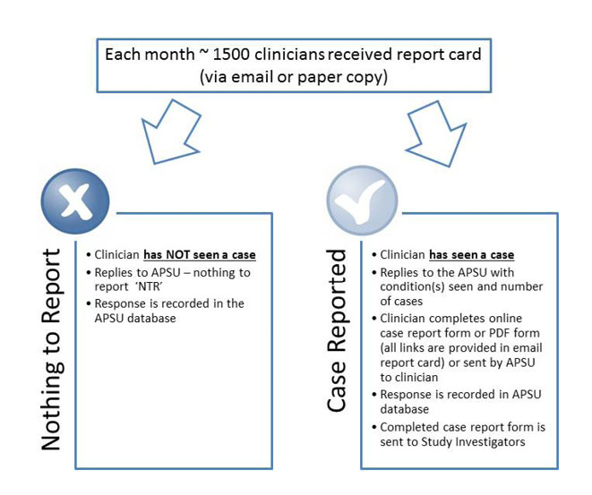 Figure 2 is a schematic showing APSU methodology for returning the report card whether or not the paediatrician has seen a relevant case or not, and the process of data collection via an on-line or paper form.